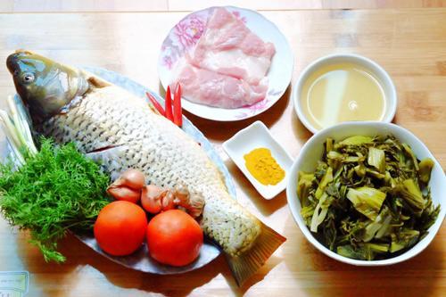Nguyên liệu chế biến cá chép om dưa