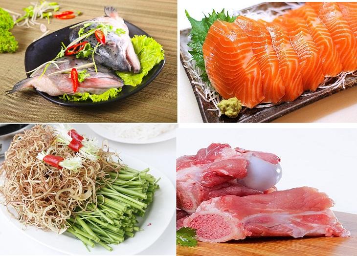 Nguyên liệu cho món lẩu cá hồi măng chua siêu ngon
