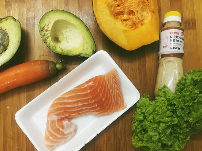 Nguyên liệu cho món salad cá hồi bơ