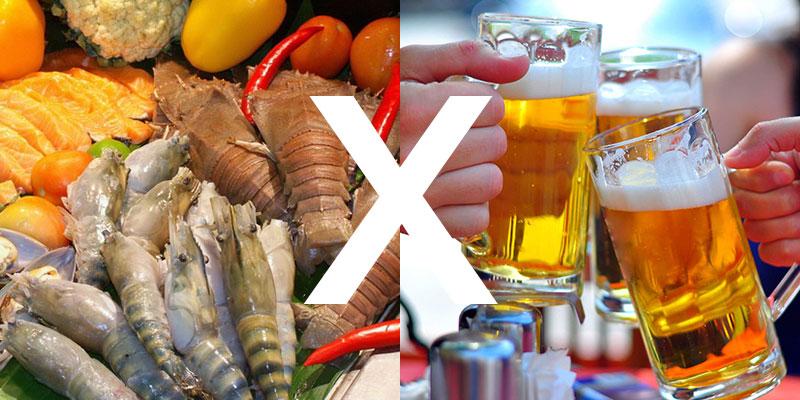 Ăn hải sản không nên uống bia có thể gây nguy hiểm cho sức khỏe